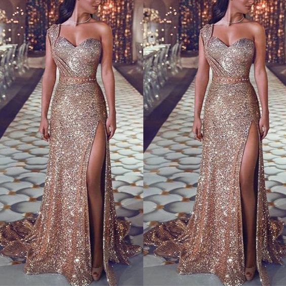 sparkly evening dresses long mermaid rose gold pink cheap formal dresses robe de