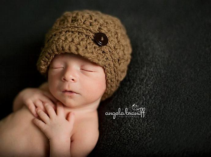 Newborn Wafflestitch / Lattice Newsboy Cap - Slate Grey - See Other Colors Below