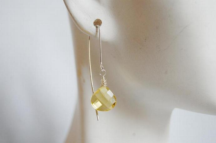 Lemon Quartz long drop earrings