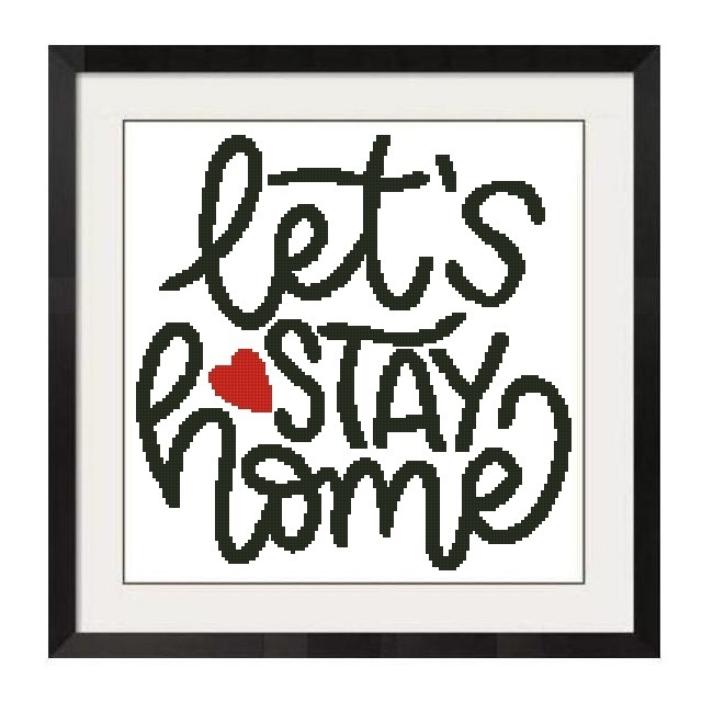 ALL STITCHES - LET'S STAY HOME CROSS STITCH PATTERN .PDF -1243