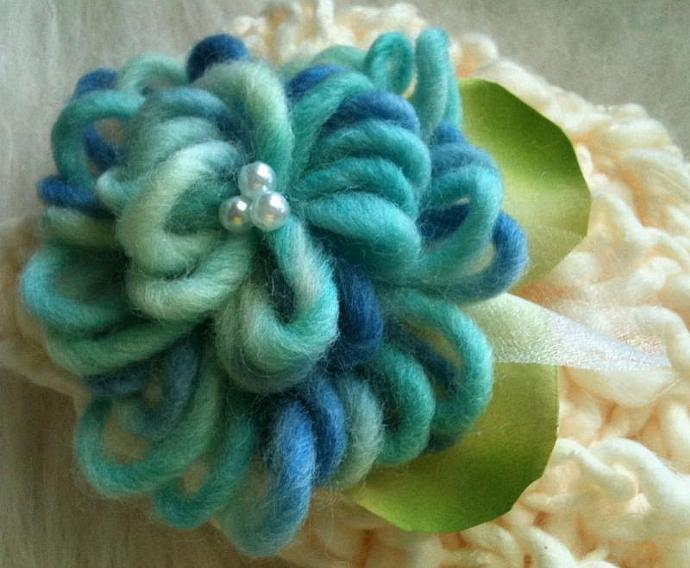 Newborn Double Whimsical Bloom Hat -Baby Blue