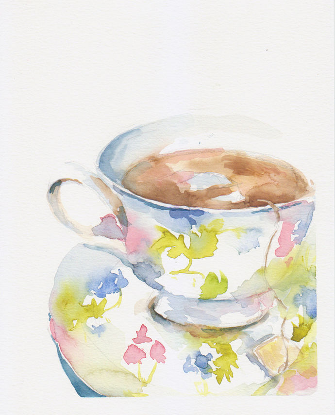 Original Watercolor Painting- Ready to Frame - 8x10  - Floral Tea Cup - Tea