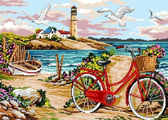 Red Bike By The Shore Cross Stitch Pattern***LOOK***X***INSTANT DOWNLOAD***