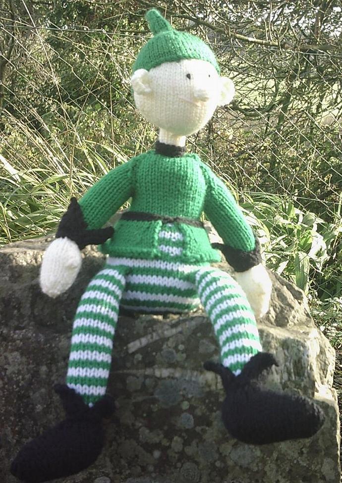 Handknit toy elf