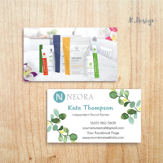 Printable Neora Business Cards, Personalized Neora Template NE14