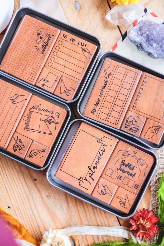 Fun & Joy wooden stamp sets in a tin - a nice, small set of rubber stamps