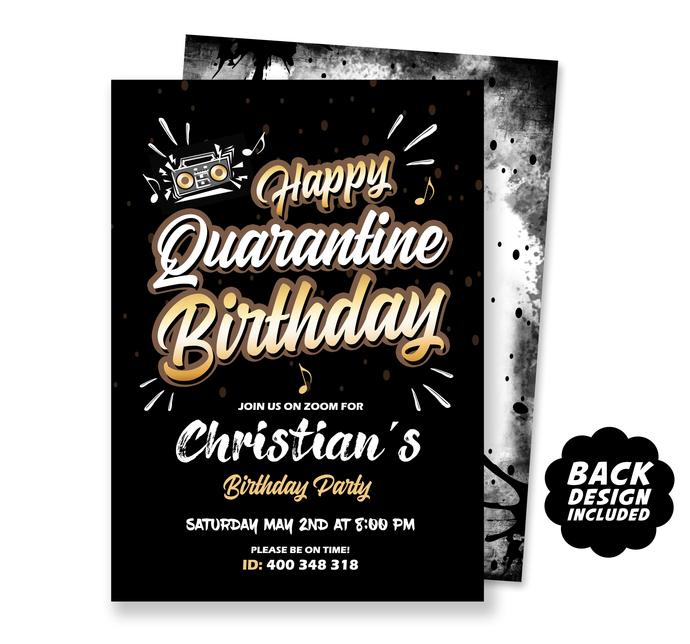 Quarantine Birthday Party Invitation, Happy Quarantine Birthday Invite, Virtual