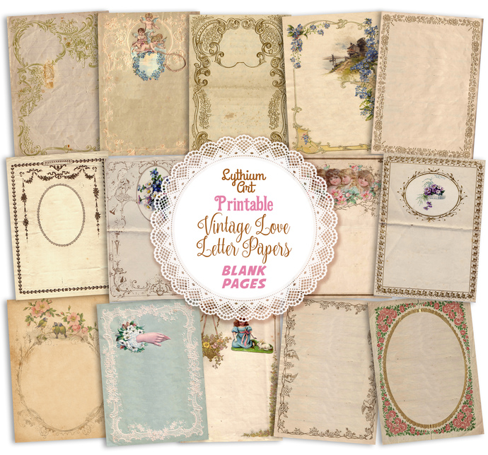 Printable Vintage Love Letter Pages, Instant Download, Printable Papers,