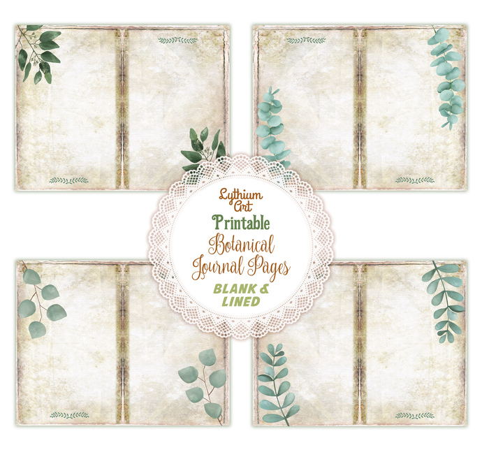 Botanical Blank Lined Journal Pages, Instant Download, Greenery Junk Journal,