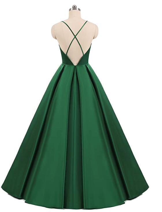 Dark Green Satin Long Party Dress Straps Long Prom Dress