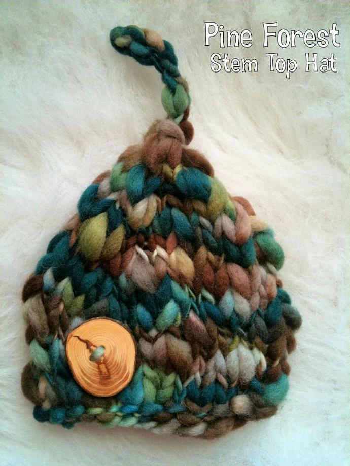 Newborn Woolly Stem Top Beanie- Pine Forest