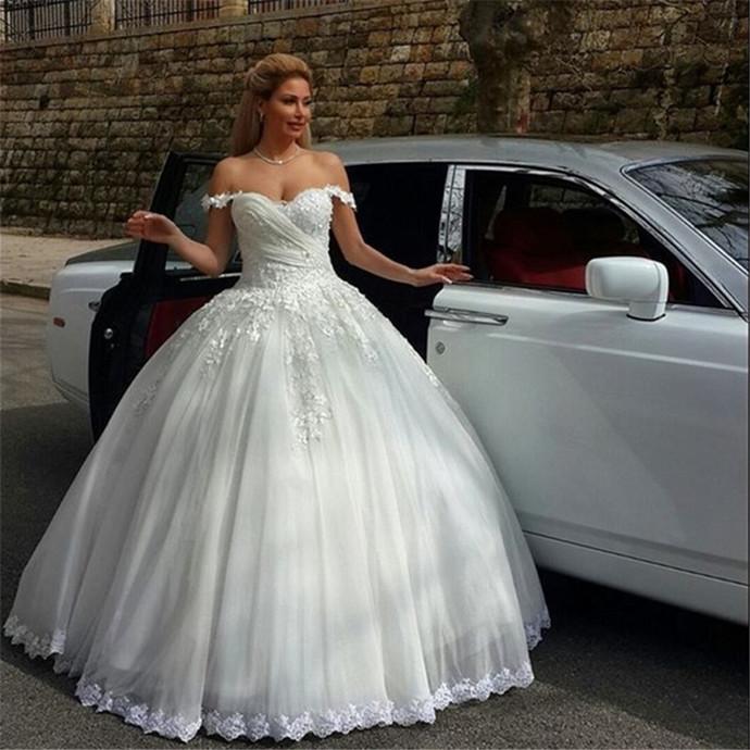 Off The Shoulder Princess Ball Gown Wedding Sparkledress