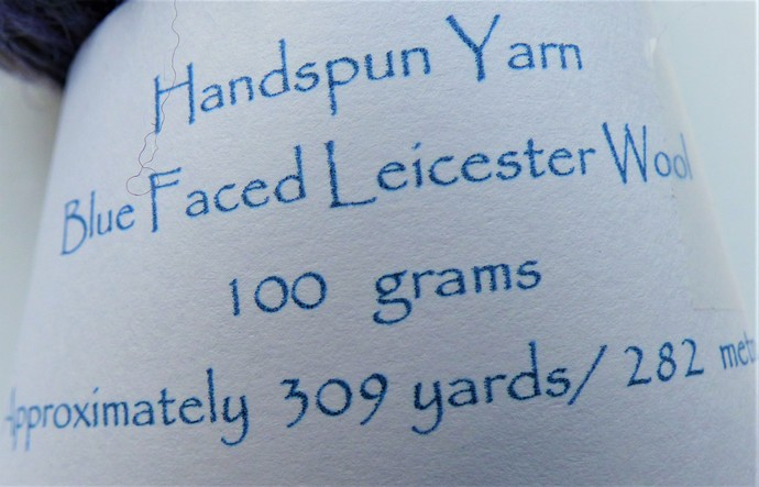 Handspun Yarn – 100% Blue Faced Leicester Wool – 100 grams – DK/Chunky Weight –