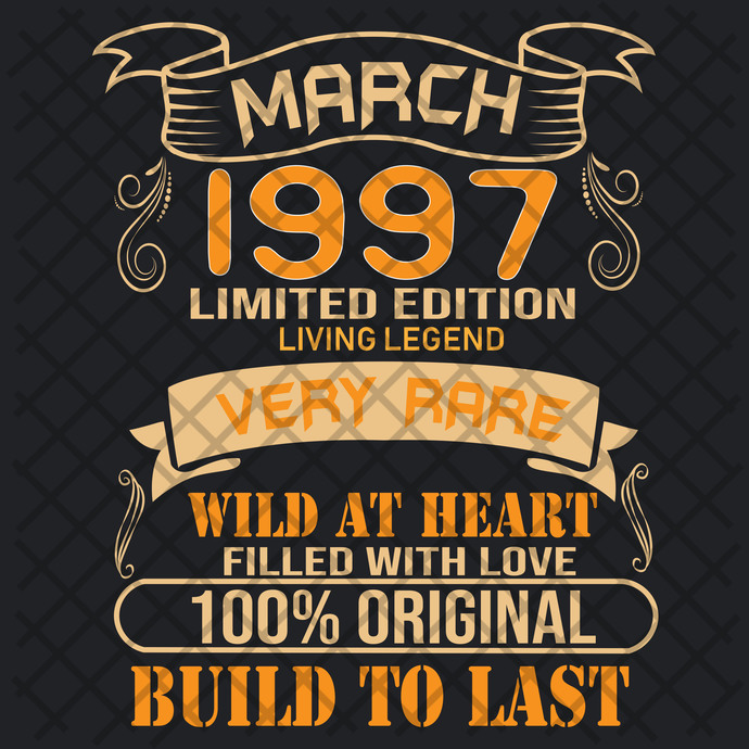 March 1997 Limited Edition Svg, Born In 1997 Svg, Born In March Svg, March Svg,
