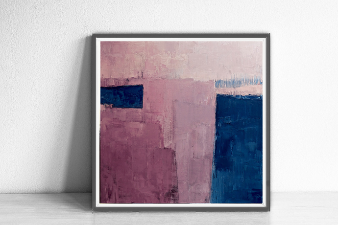 Pink Abstract Art, pink Print ,Abstract Print, navy blue and pink,Minimalist