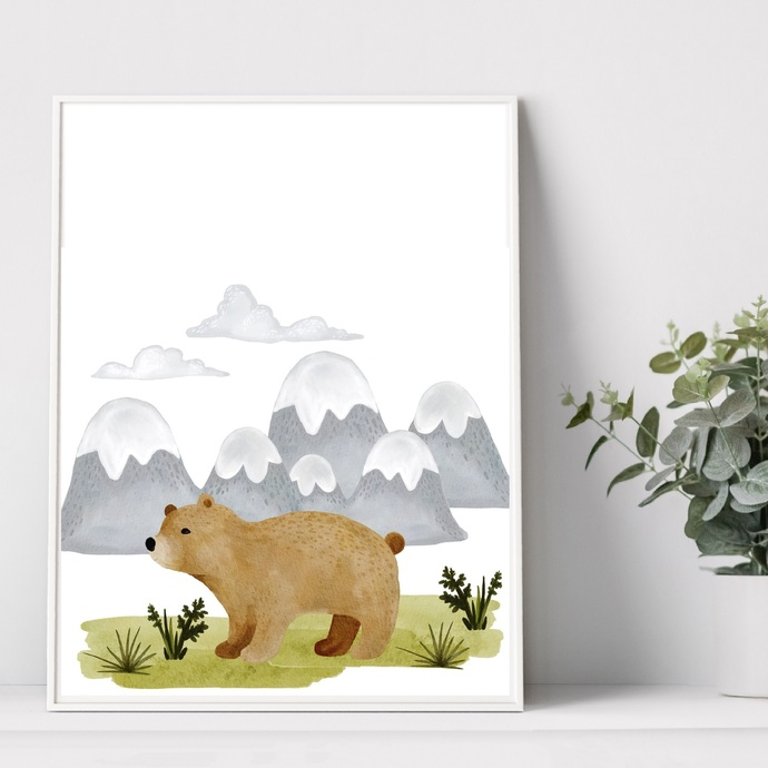 Watercolor bear animal nursery printable, art print, forest animal, mountain,