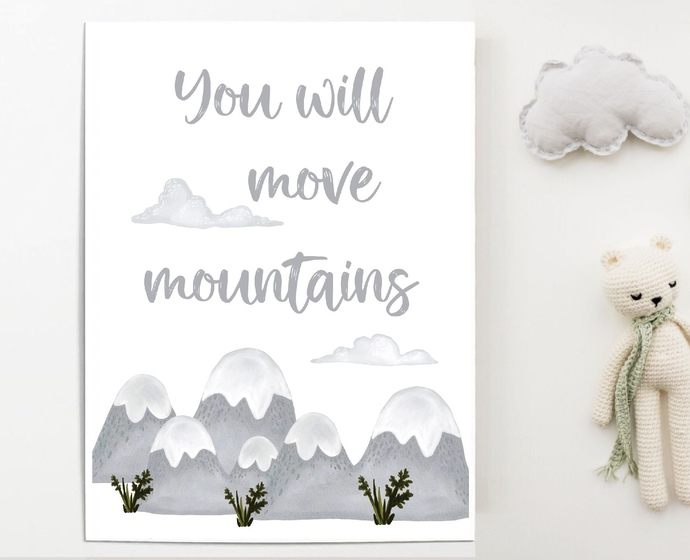 You will move mountains Watercolor forest nursery printable wall art print,