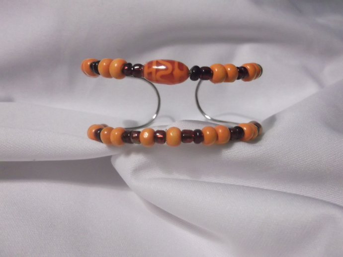 Red and orange beads cuff bracelet