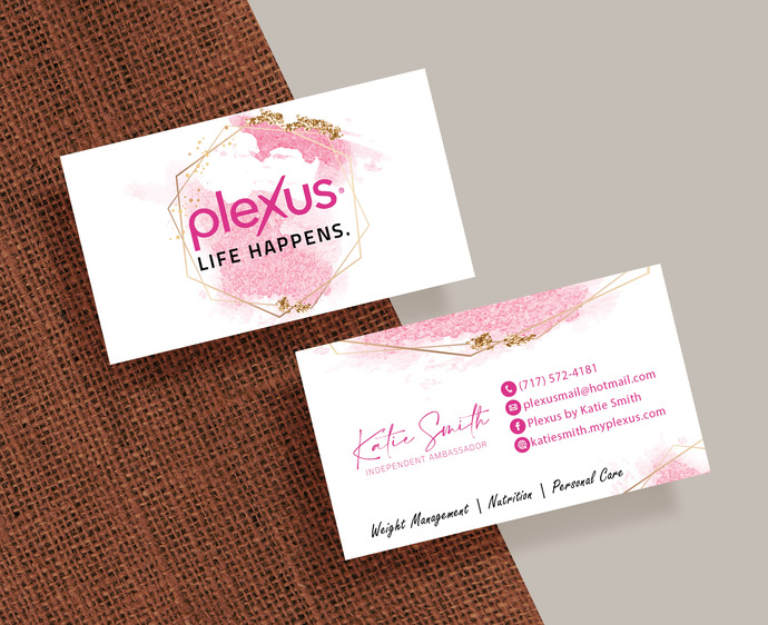 Personalized Plexus Business Cards, Custom Plexus Business Cards, Pink Plexus