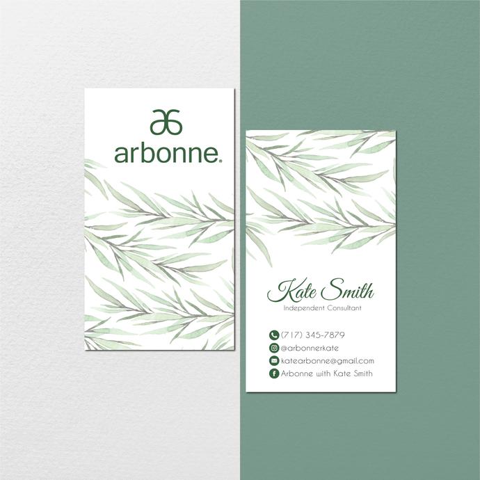 Personalized Arbonne Business Cards, Watercolor Arbonne Business Card, Custom