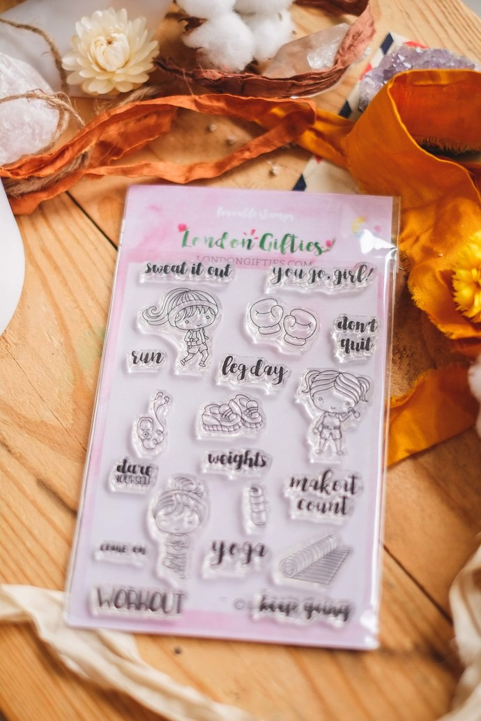 Rewind: London Gifties clear stamp set - workout - A6 size decorative cling