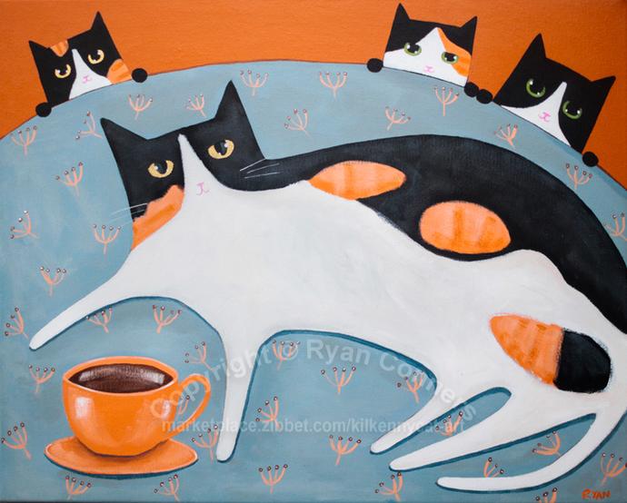 "16"" x 20"" Mom's Coffee and Kittens Original Cat Folk Art Painting"