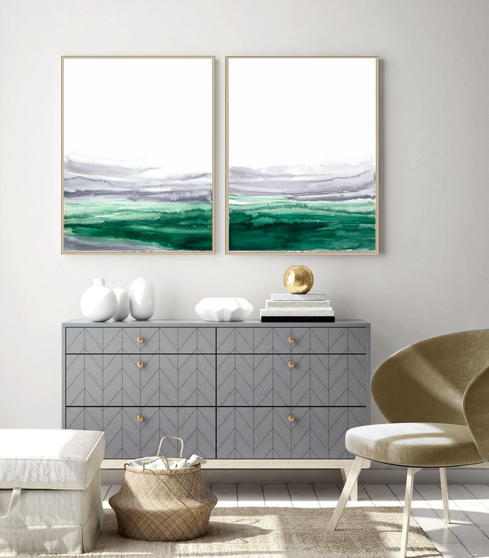 Set of 2 emerald watercolor, modern abstract, Industrial Decor, white gray green