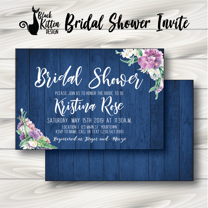 Blue Wood & Floral Bridal Shower Invite- Printed or Digital