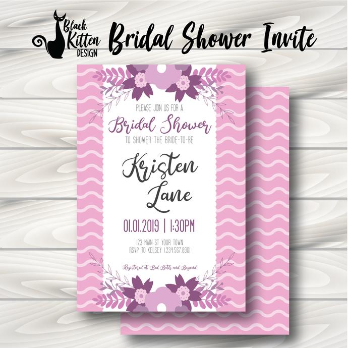 Pink/Purple Floral Bridal Shower Invite- Printed or Digital