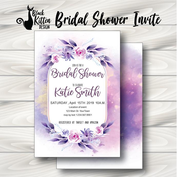 Light Purple Water Color Floral Bridal Shower Invite- Printed or Digital