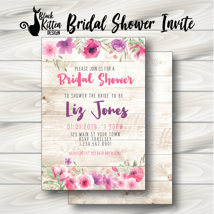 Wood and Pink Floral Bridal Shower Invite- Printed or Digital