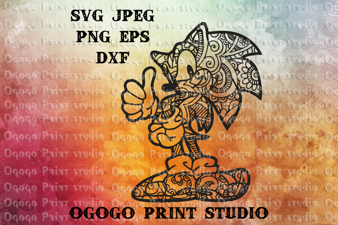 Sonic X Svg Cartoon Svg Zentangle Svg By Ogogo Print On Zibbet