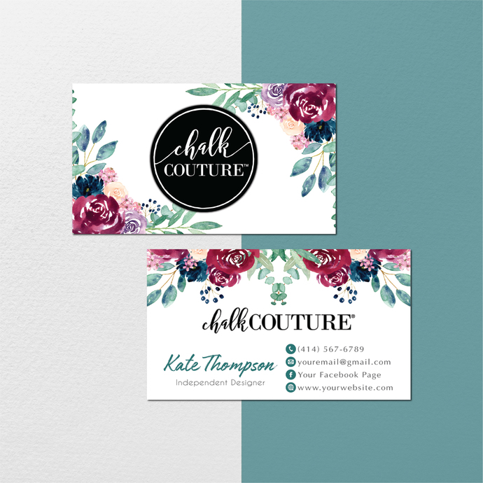 Personalized Chalk Couture Business Card, Chalk Couture Cards, Floral Chalk