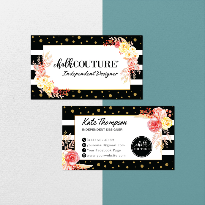 Personalized Chalk Couture Business Cards, Chalk Couture Cards, Floral Chalk