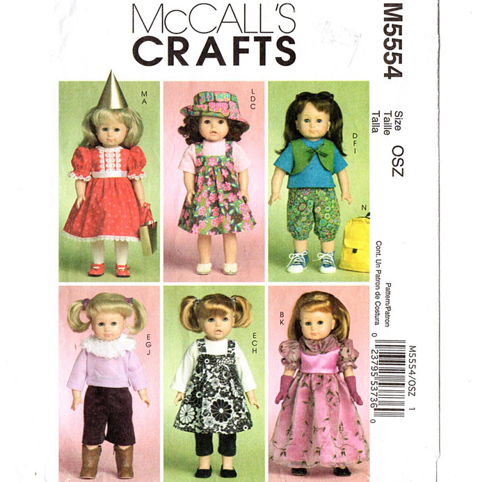 "McCall's 5554 Doll Clothes 18"" Sewing Pattern Uncut Fits American Girl Party"