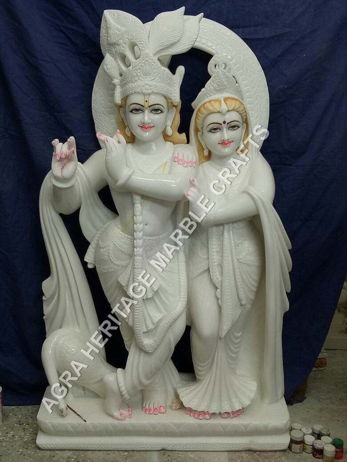 White Marble Radha Krishna Idol By Agraheritagemarblecrafts On Zibbet
