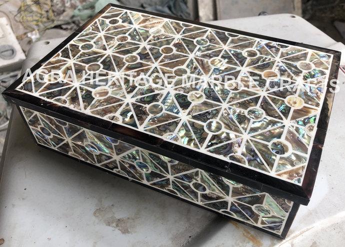 Modern Marble Jewelry Storage Box Pauashell Inlay Precious Stone Design