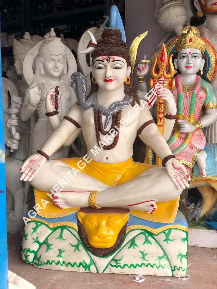White Marble Lord Shiva Statue Hand Painted Art Religious Shiv Ji Mahadev Murti