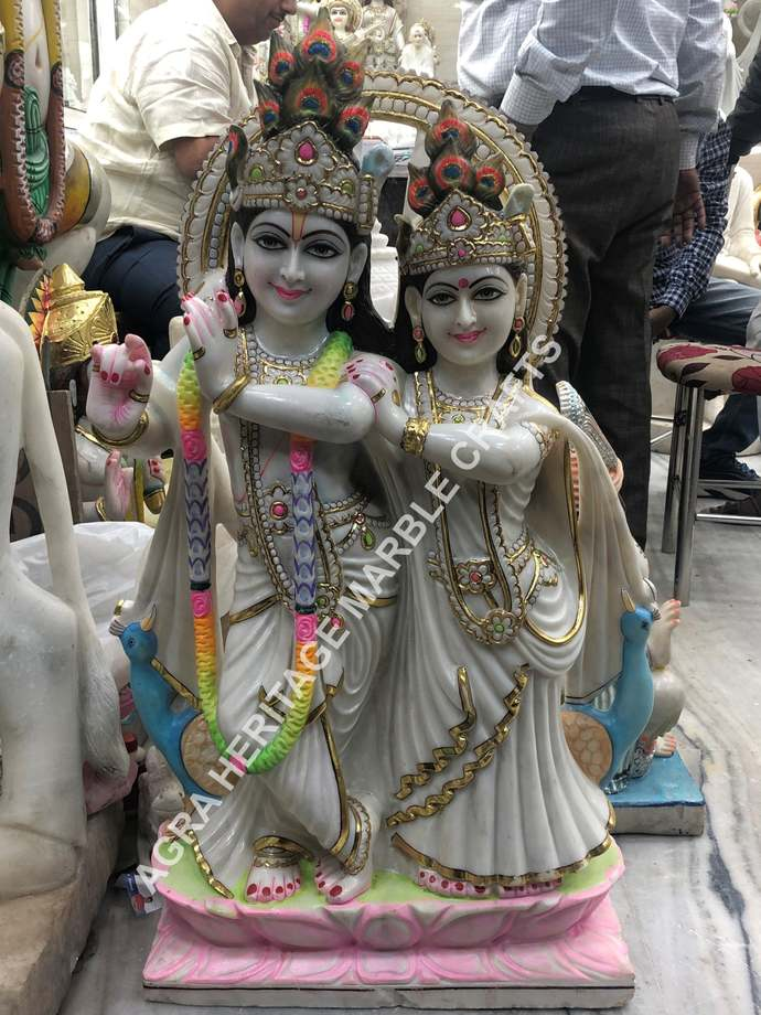 Marble Radha Krishna Figurine Hand Painted Art Handicraft Sculpture Religious