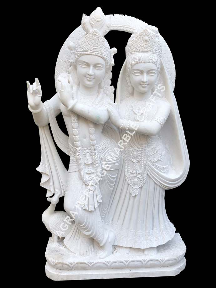 Decorative Marble Stone Radha Krishna Statue Handmade Sculpture Temple Worship