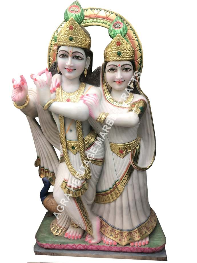White Marble Hand Painted Radha Krishna Design Handicraft Statue Temple Interior