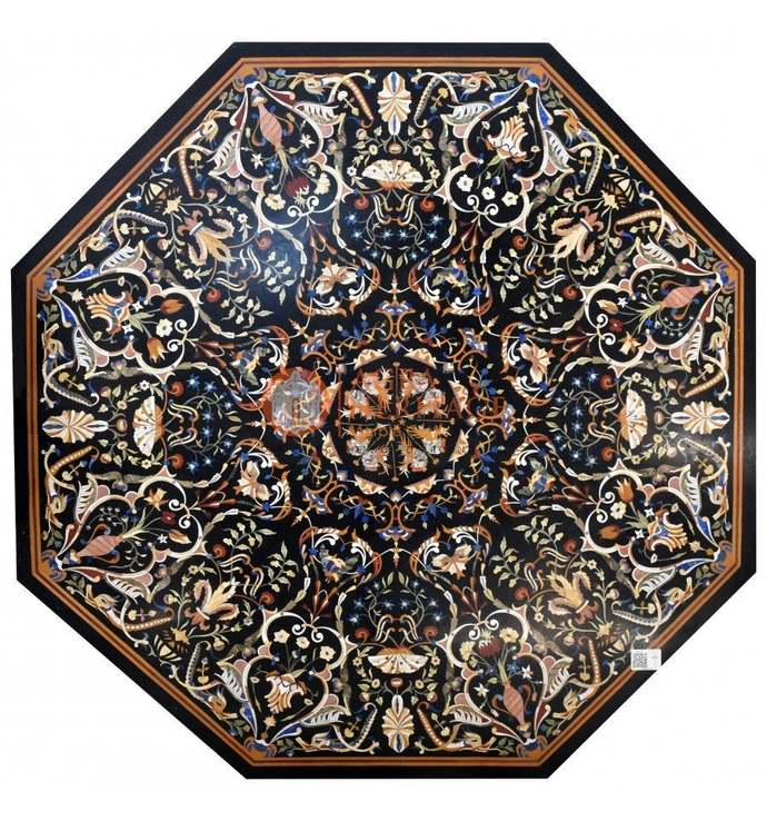 """68""""x68"""" Black Large Marble Pietradura Semi Precious Inlay Stone Art Dining Table"""