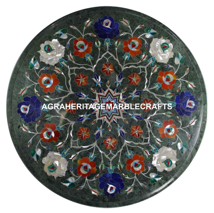 Green Marble Round Small Coffee Table Top Lapis Carnelian Inlay Stone Floral
