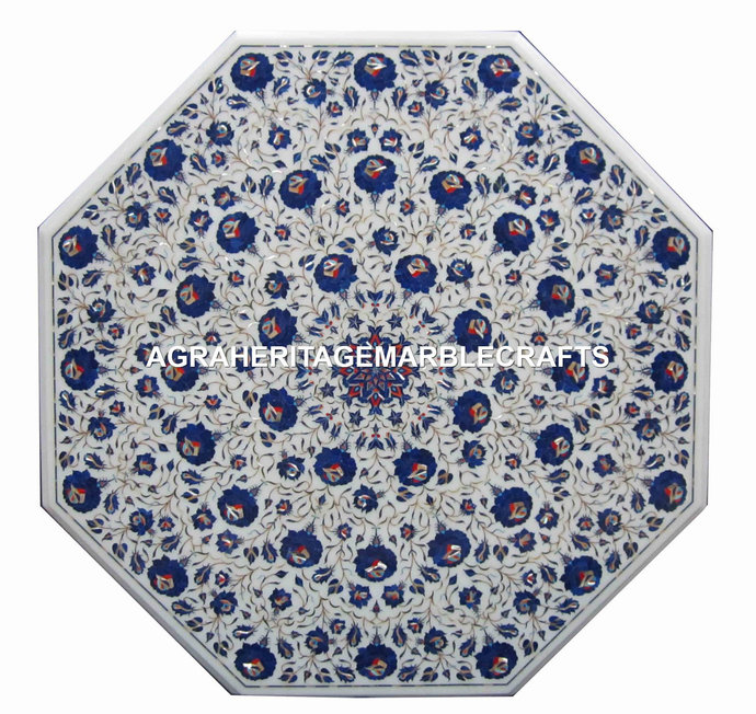 White Marble Dining Outdoor Table Top Lapis Lazuli Inlay Floral Marquetry Design