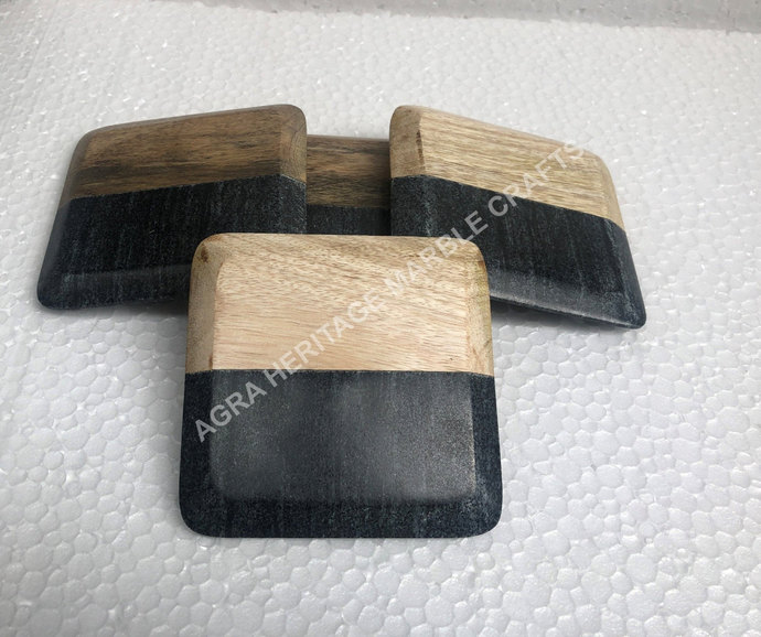 Marble & Wooden Coffee Coaster Plate 4 Pcs Handmade Art Drinkware Occasional