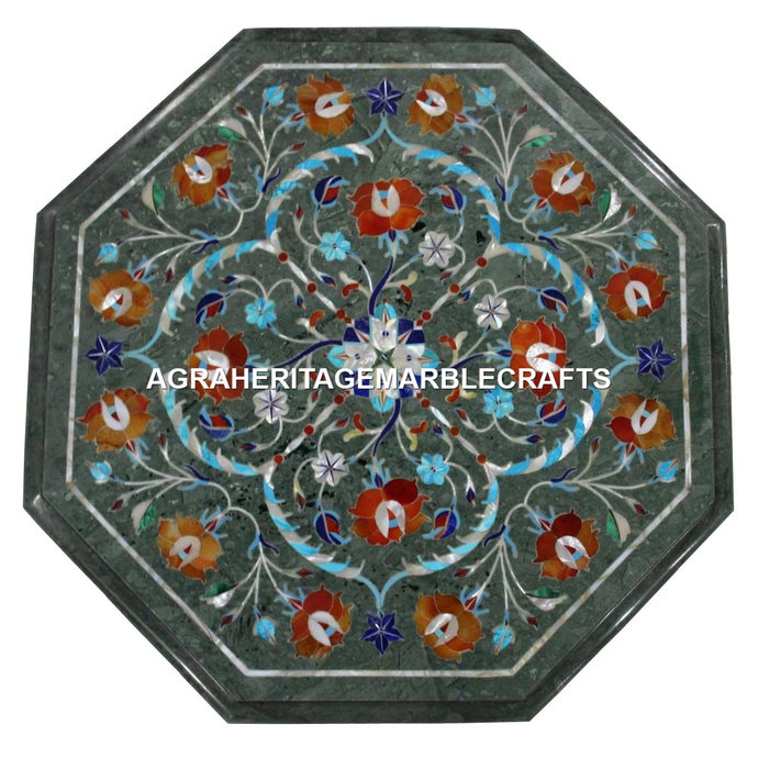 Green Marble Coffee Hallway Table Top Multi Marquetry Pietra Dura Inlay Living