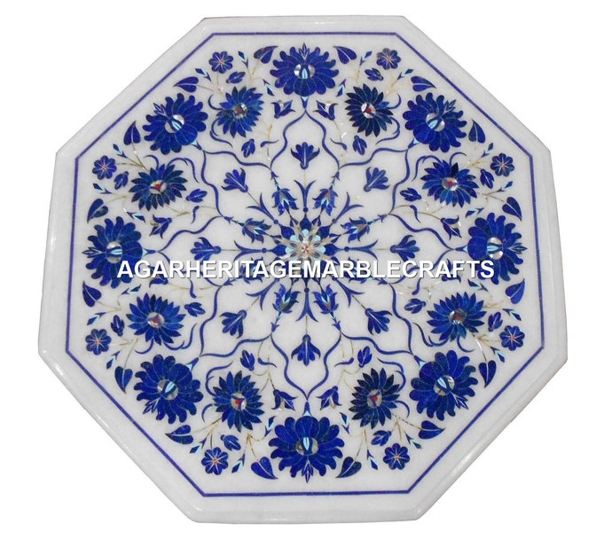White Marble Small Coffee End Table Top Lapis Lazuli Inlay Marquetry Floral Arts