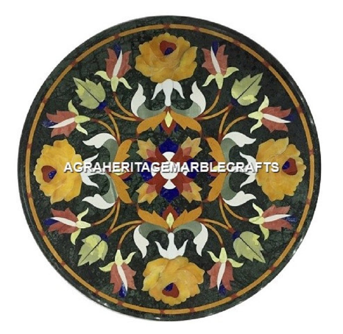 Green Marble Round Coffee Table Top Floral Pietra Dura Inlay Design Hallway