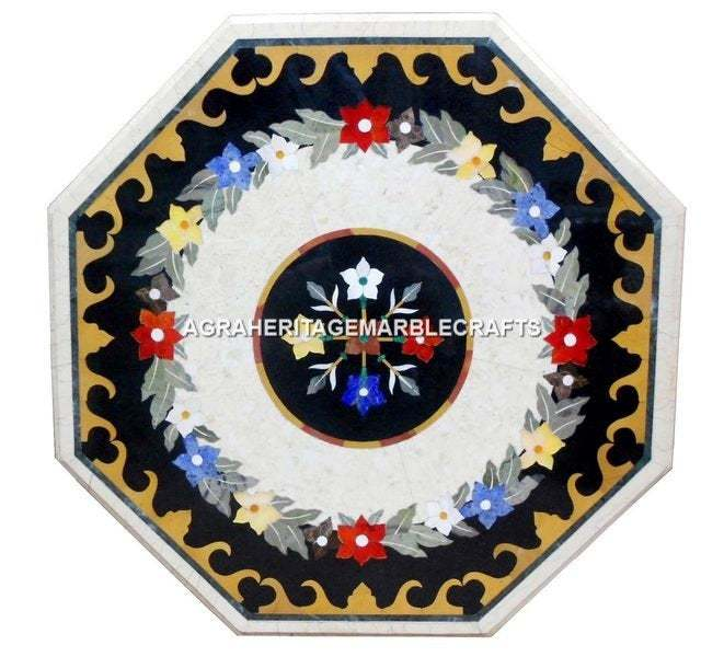 White Marble Side Coffee Bedroom Table Top Handicraft Inlay Design Customized