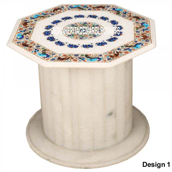 Marble Dining Stand Table Top Multi Floral Elephant Peacock Animal Bird Inlay